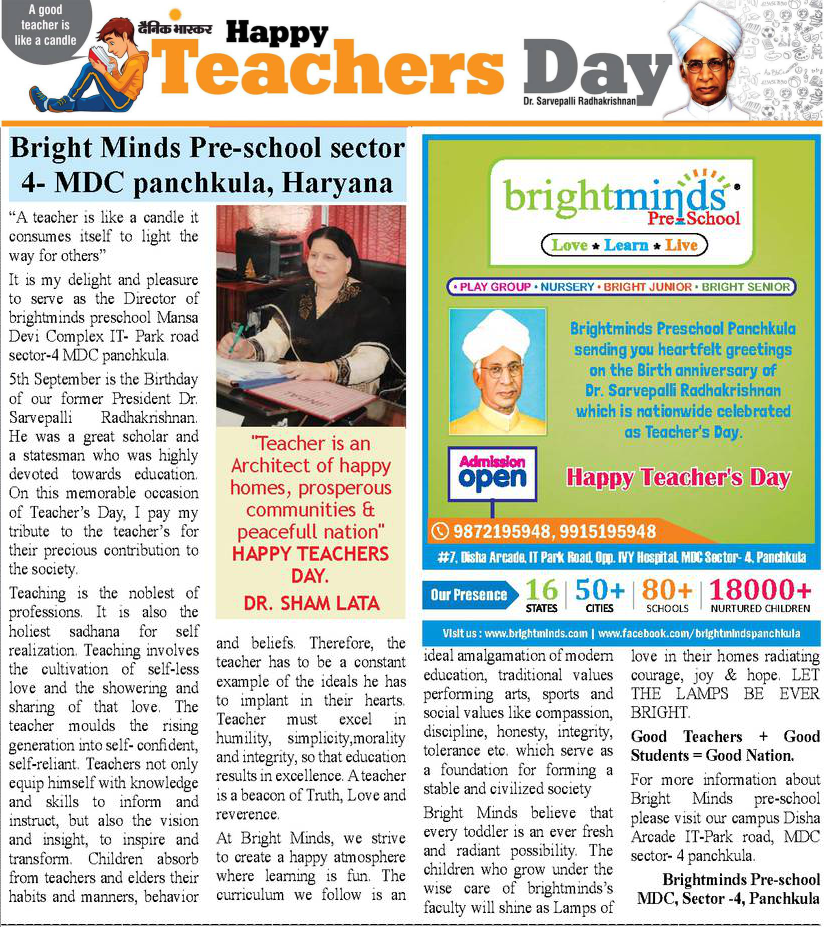 Happy Teachers Day - Bright Minds Panchkula