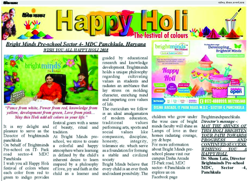 Holi Greetings - Bright Minds Preschool Panchkula
